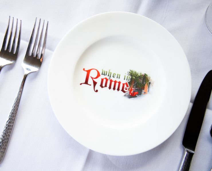 dinner plate with logo